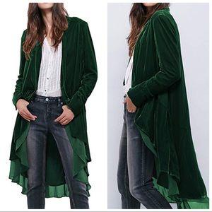 Boho Green Velvet and Chiffon Open Blazer